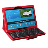 NEWSTYLE Ultra-Silm Removable Wireless Bluetooth Keyboard Stand Folio PU Leather Case Cover for Samsung Galaxy Tab Pro & Note Pro 12.2 Inch Tablet - Red