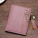 Woman Ladies Mini Purse PU Leather Small Clutch Wallet Zipper Card ID Holder Bag (Color - Dark Pink)
