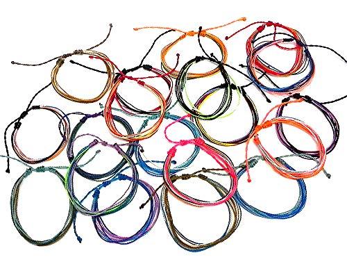 Mia Jewel Shop Multi Strand String Pull Tie Multicolored Bracelet Wholesale Assorted Colors (12)