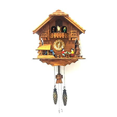 ALEKO CKC03 Handcrafted Cuckoo Wall Clock Home Art with Chirping Bird and Dancing Townsfolk 12 x 11 x 6.5 Inches Brown