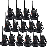 Retevis H-777 2 Way Radio Walkie Talkie UHF 400-470MHz 3W 16CH Flashlight with Earpiece Hand Held Ham Radio Transceiver (15 Pack)