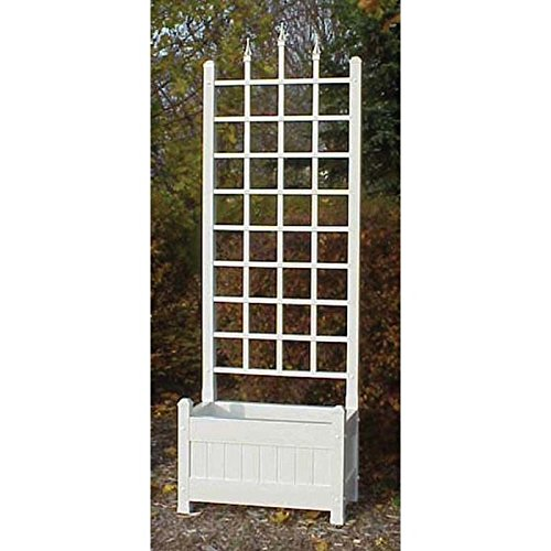 Rectangular Trellis - Dura-Trel 5-Foot Rectangle Vinyl Camelot Planter Box with Trellis