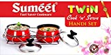 Sumeet Nonstick Twin Cook And Serve Handi Set With Stainless Steel Stand