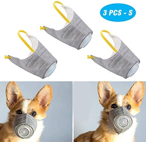 PeSandy Adjustable Dog Respirator Mask, 3 PCS Breathable Dog Muzzle Protective Mask for Small to Large Dogs Filter Air Pollutants Anti Fog/Anti Dust/Anti Secondhand Smoke, Pet Respirator Mask