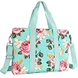 MOSISO Laptop Tote Bag (Up to 17.3 Inch), Canvas Classic Multifunctional Work Travel Shopping Duffel Carrying Shoulder Handbag Compatible Notebook, MacBook, Ultrabook and Chromebook,Hot Blue Base Rose