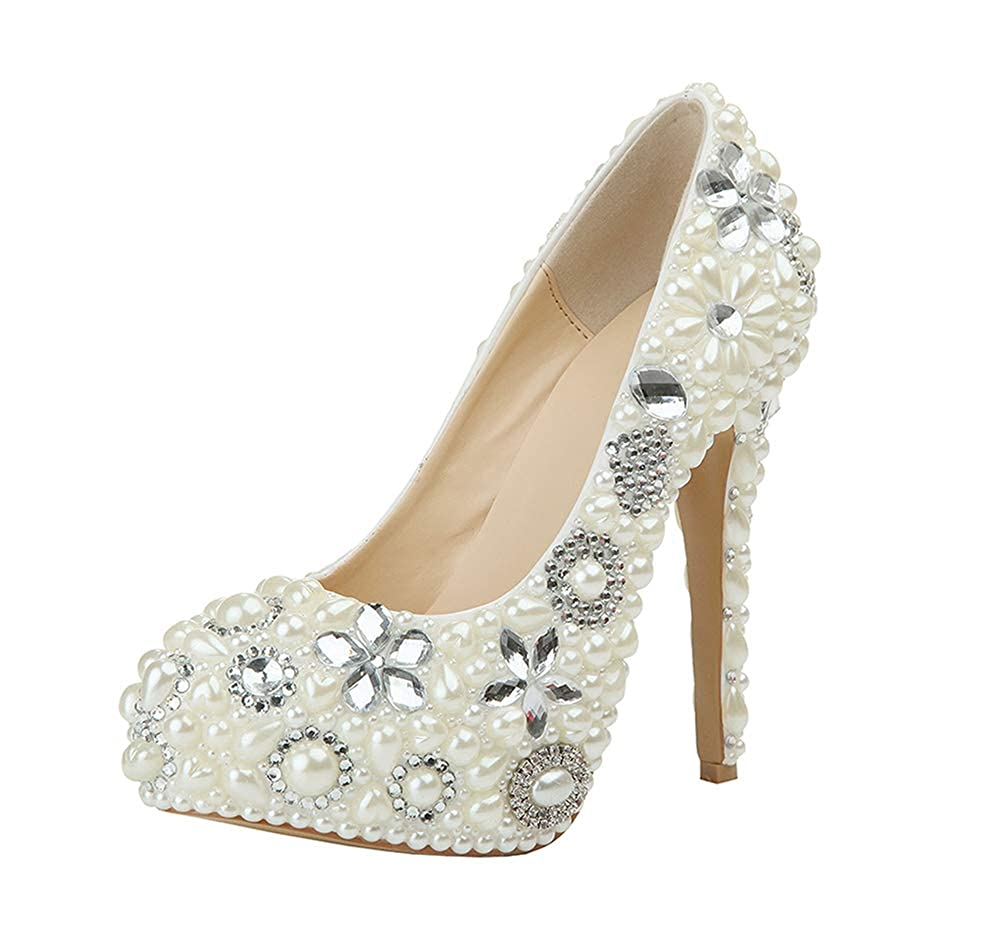 ade744a524 Amazon.com | Yunhine Womens Round Toe Clover Crystal High Heels ...