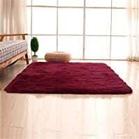 FenDie Indoor Modern Soft Shaggy Area Rugs Solid Cozy Kids Room Rugs Home Decorate Fulffy Bedroom Carpet Floor Mat,4.6 Feet by 6.6 Feet, Wine Red