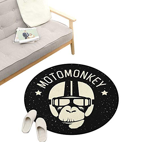 Outer Space Round Area Rug Super Soft Anti-Slip ,Sign Alien Monkey with Astronaut Costume in a Galaxy with Stars Poster, Children Girls Room Decorato 47