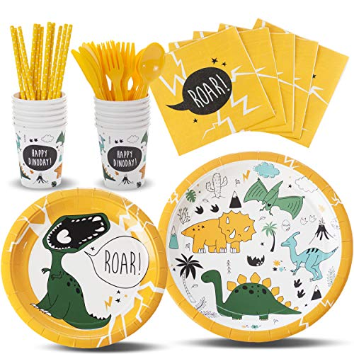 TRENDY BRANDY Dinosaur Childrens Party Supplies, Boys and Girls Theme Party Set for Kids, Serves 12 -