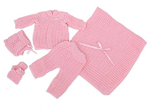 Newborn Baby Crochet Blanket 5 Piece Set Hat, Booties, Sweater, Pants (Pink) - Hat Sweater Knit