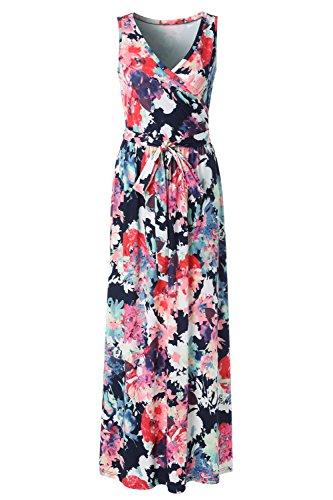 Printed Sleeveless Dress - Zattcas Womens Bohemian Printed Wrap Bodice Sleeveless Crossover Maxi Dress …