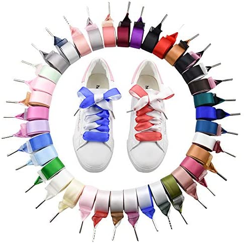 靴ひも カラー サテン リボン 女の子 平型くつひも リボン幅 スニーカー 無地 平ヒモ シューレース シューズひも おしゃれ靴ひも シューズアクセサリー 靴紐 多色を選べる 2本入り