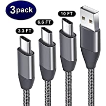 USB Type C Cable 3Pack(3.3FT 6.6FT 10FT), USB C to USB A 2.0 Charger Nylon Braided Cord for Samsung Galaxy S9 S8 A8 Plus Note 8 LG V30 G6 Macbook Google Pixel 2 XL Nexus 5X 6P Moto Z2 Nintendo Switch