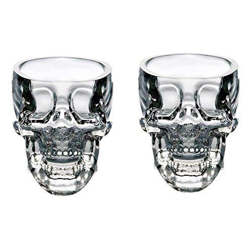 EASYTAR Crystal 3D Skull Pirate Shot Glass Drink Cocktail Beer Cup Set Of 2