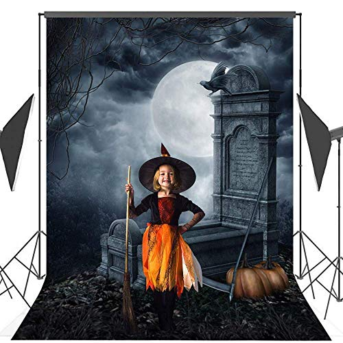 Allenjoy 5x7ft Halloween Pumpkin Photography Backdrop Horror Cemetery Full Moon Night Background and Studio Props Party Decoration Photo Booth]()