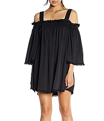 d26b5e66e893 Amazon.com: Kendall + Kylie Frayed Twill Mini Dress in Black: Clothing