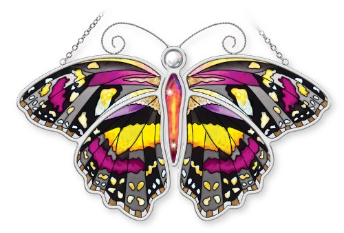 Amia Tithorea Tamasea Butterfly Hand Painted Glass Suncatcher, Multicolored, 10-1/2-Inch