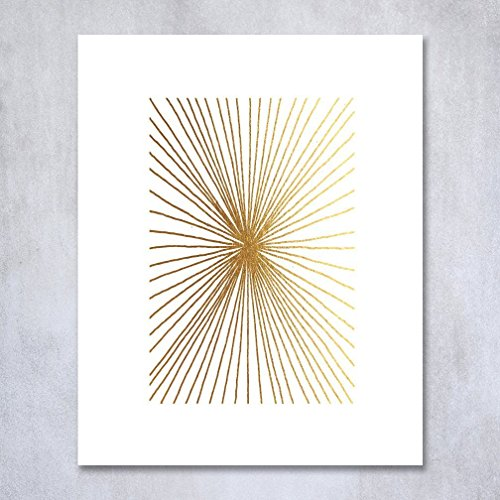 Burst Lines Gold Foil Art Print Abstract Hand Drawn Metallic Poster Geometric Modern Art Contemporary Wall Decor 8 inches x 10 inches (Gold Foil Lines)