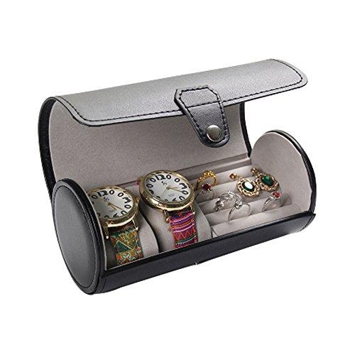 ACO & Bebe House Travel Jewelry Box Organizador–Cilindro relojes & anillos & anteojos de sol titular caso,...