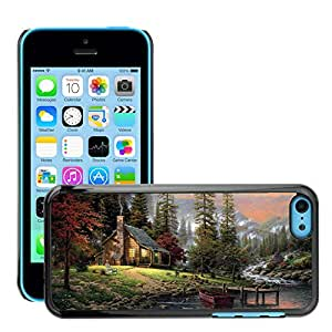 Hot Style Cell Phone PC Hard Case Cover // M00044384 drawings chalet mountains scenery // Apple iPhone 5C