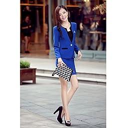 Yinxiang Liying Women\'s Slim Overalls Business Suit Skirt Sets (XXXL, Navy blue)
