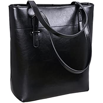 11fdda5a1c Iswee Women s Leather Shoulder Handbags Tote Bag Top Handle Bags Designer  Purses for Office Lady (Black)
