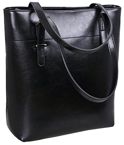 Iswee Vintage Leather Shoulder Bag Women Tote Handbag Ladies Designer Purse Bucket Bag (Black) ()
