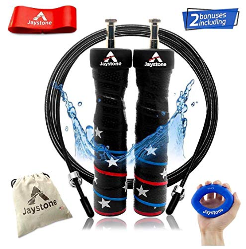 Jump Rope - Speed Jumping Exercise, Skipping Workout - Best for WOD, Fitness, Double Unders, Crossfit, Boxing & MMA Training - Weighted Ball Bearing Cross Rope - 2 Adjustable Cables
