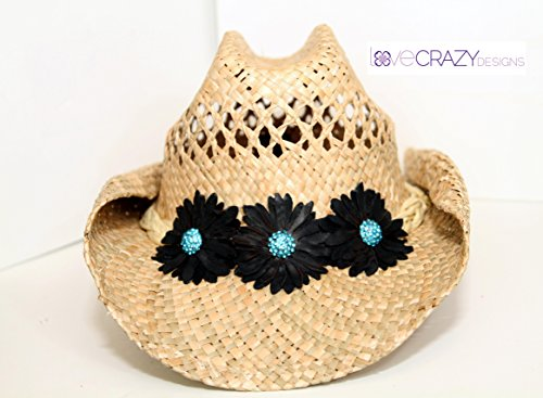 Straw Cowboy Hat with Handmade leather flowers