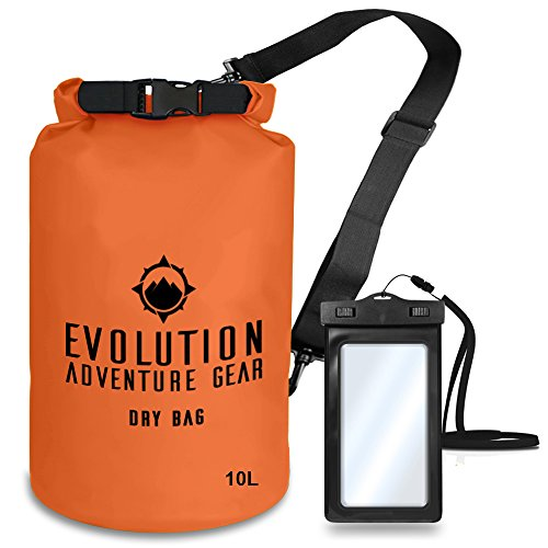 EVOLUTION Floating Waterproof Dry Bag – Professional Adventure Gear - Roll Top Compression Sack for Kayaking, Boating, Hiking, Fishing, Camping and Outdoor Travel – Waterproof Phone Case – 10L O