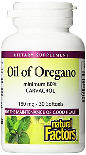 Olive Leaf 30 Tablets (Natural Factors - Oil of Oregano 180mg, With Extra Virgin Olive Oil, 30 Count)