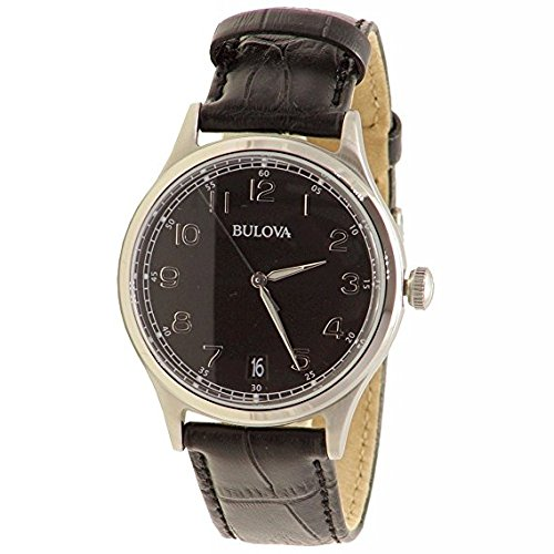 Bulova Mens Classic Black Strap Watch 96B233