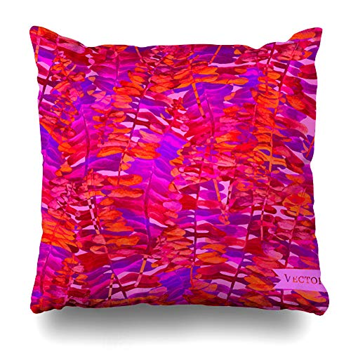 Ahawoso Throw Pillow Cover Rainfrorest Watercolor Fern Palms Pattern Nature 50S Pink 60S Abstract California Canopy Design Decorative Pillowcase Square Size 16