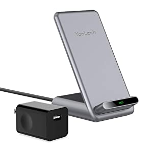 Yootech 15W Wireless Charger with Cooling Fan,15W for LG V30/V35/G8,7.5W Wireless Charging Stand with Adapter Compatible iPhone 11/11 Pro/11 Pro Max/Xs MAX/XR/XS,10W for Galaxy Note10/Note10Plus/S10