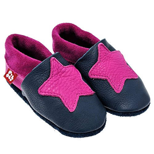 POLOLO HANDMADE 100% ORGANIC LEATHER Baby shoes Little Star moccassin Toddler prewalkers infant Slippers MADE IN GERMANY crib-shoes step-shoes walk-shoes PREMIUM QUALITY soft sole Girl Boy Size 4