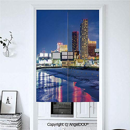 AngelDOU City Japanese Durable Doorway Curtains Resort Casinos on Shore at Night Atlantic City New Jersey United States for Hotel Bathroom Curtains Kitchen Decor. 33.5x47.2 inches]()