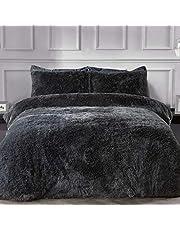 Sleepdown Fleece Luxe Lange Stapel Faux Bont Houtskool Grijs Super Zacht Gemakkelijk Onderhoud Dekbedovertrek Quilt Beddengoed Set met Kussensloop - Eenpersoons (135cm x 200cm)