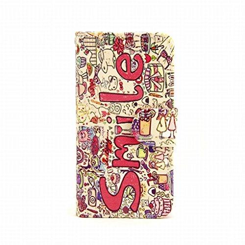 LEMORRY iphone 5 5S Portefeuille Rabat Coque Etui, élégant Smile Protecteur Soft Silicone TPU Housse + Durable PU Cuir Cartes Fente Stand-View Bumper Magnétique Pochette