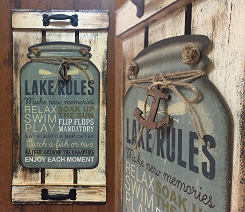 Cottage Picket Wings (Mason Canning Jar Shutter LAKE RULES SIGN Distressed Wood Rustic Country Cabin Vertical Wall Decor with metal sign and wood anchor embellishment! Home Family Kitchen Porch)
