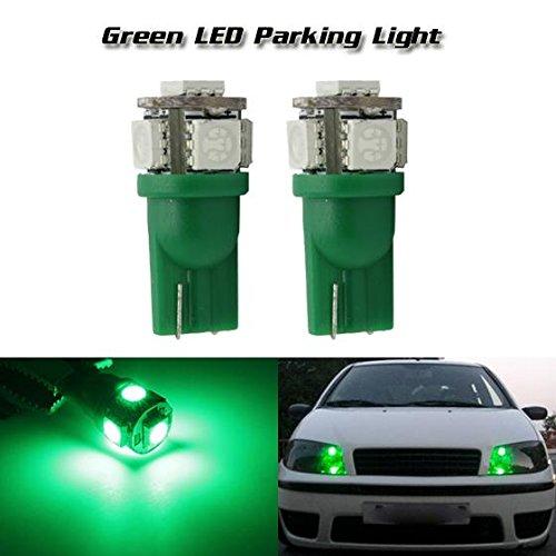 PartsSquare 2 Pcs Green 5-5050-SMD Led Parking Lights Lamps For 168 2825 194 T10 2014 Nissan