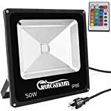 RUICAIKUN Remote Control 50W RGB LED Flood Lights, Color Changing LED Security Light, 16 Colors & 4 Modes, Waterproof LED Floodlight, US 3-Plug, Landscaping Lights Review