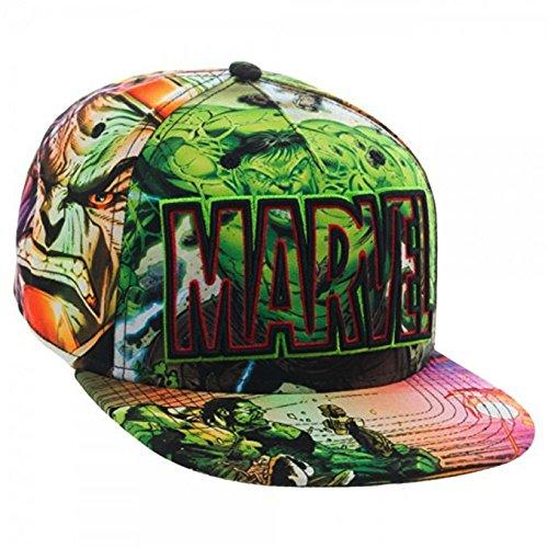 Marvel Logo and Hulk Full Color Sublimated Snapback Hat (Snapback Hulk)