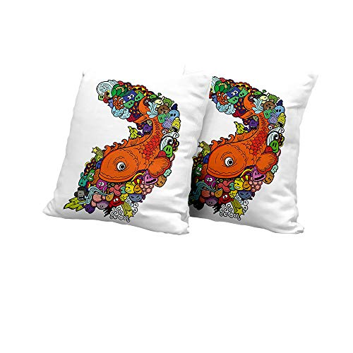 Stool Cushion Cover Kids Decor,Big Fish with Bunch of Underwater Sea Creatures Animal Ocean Coral Reef Cartoon,Multicolor Outdoor Pillow Covers 16x16 INCH ()