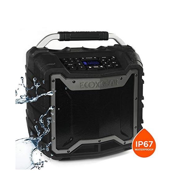 ECOXGEAR-EcoTrek-GDI-EXTRK210-Rugged-Waterproof-Floating-Portable-Bluetooth-Wireless-100-Watt-Stereo-Smart-Speaker-and-PA-System-Gray ecoxgear waterproof