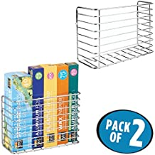 mDesign Wall & Cabinet Door Mount Kitchen Storage Organizer Basket Rack – Mount to Walls and Cabinet Doors in Kitchen, Pantry, and Under Sink – Pack of 2, Solid Steel Wire with Chrome Finish
