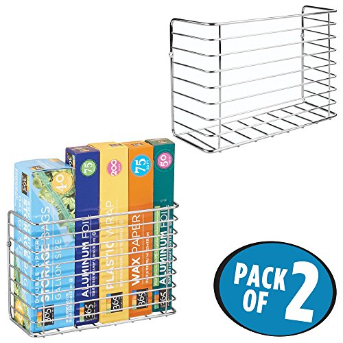 mDesign Wall & Cabinet Door Mount Kitchen Storage Organizer Basket Rack – Mount to Walls and Cabinet Doors in Kitchen, Pantry, and Under Sink – Pack of 2, Solid Steel Wire with Chrome Finish (Wall Bin Cabinet)