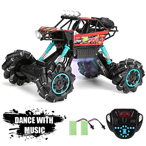 RC Monster Truck RC Rock Crawler 4WD Off Road 1:14 Scale Drift Climbing 360 Degree Rotation 2.4Ghz High Speed Music Dancing Demo with Colorful LED Lights for Kids Adult (Red)