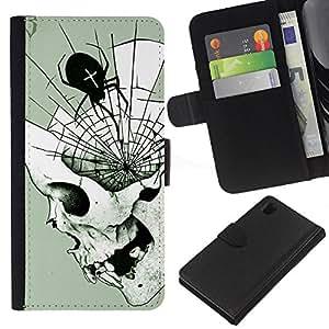 Be-Star la tarjeta de Crédito Slots PU Funda de cuero Monedero caso cubierta de piel Para Sony Xperia Z1 L39 ( Spider Skull Halloween Death Metal )