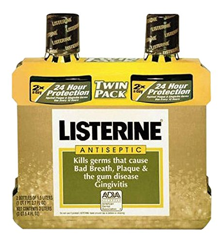 Listerine Antiseptic Mouth Wash Original Flavor Bottle, 1.5 L, 2 Piece