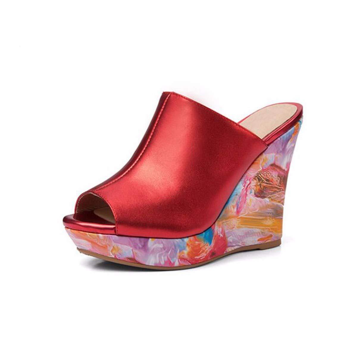 KPHY Damenschuhe Elegant Slope-Pantoffeln Dicke Sommer Sole Wasserdicht Leder-Slipper 11Cm High-Heel 37 Grüne